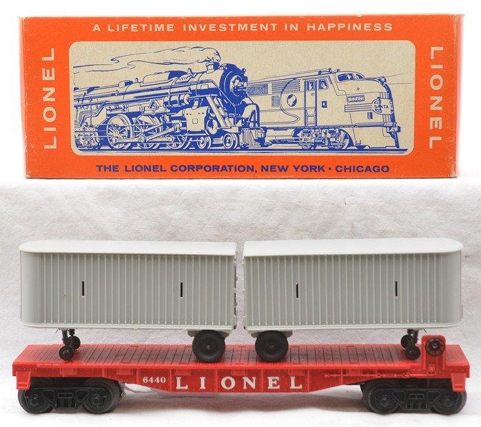 Lionel 6440 Flatcar w/Piggy Back Vans MINT OB