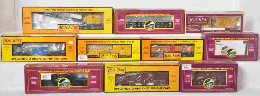 10 MTH and Railking freight cars 98219, 7891, etc