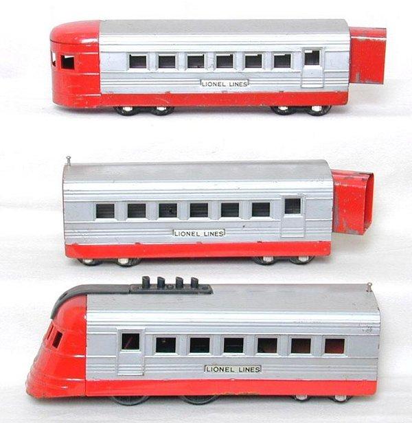 1: Lionel prewar O Jr. red/silver 3-car