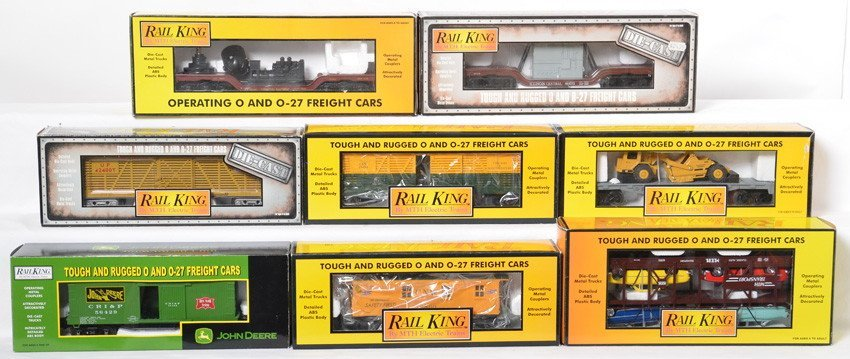 8 Railking freight cars C&NW, IC, John Deere, etc