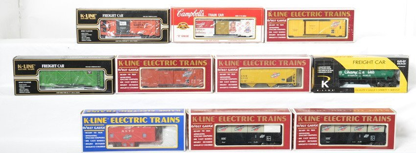 10 K Line freight cars C&NW, Sterling, SF, etc