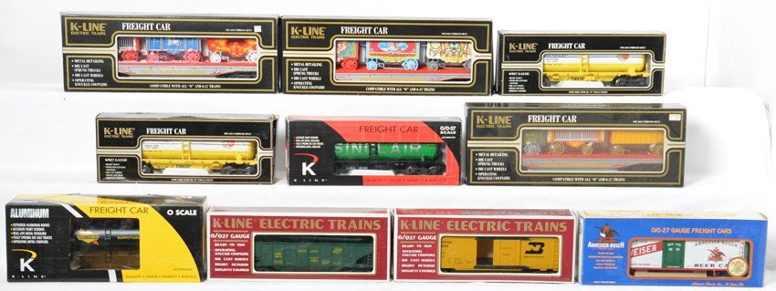 10 K Line freight cars Sunoco, Budweiser, Circus, etc