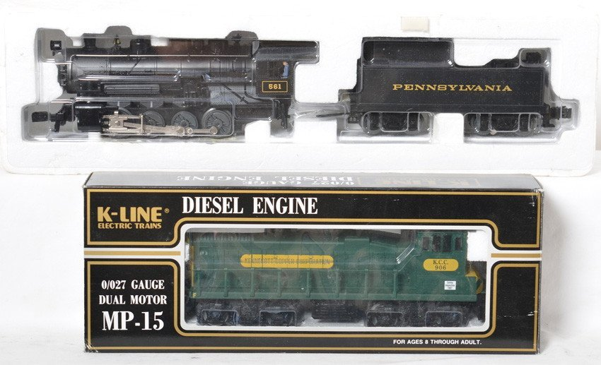 Lionel Pennsylvania steam switcher and K Line MP15