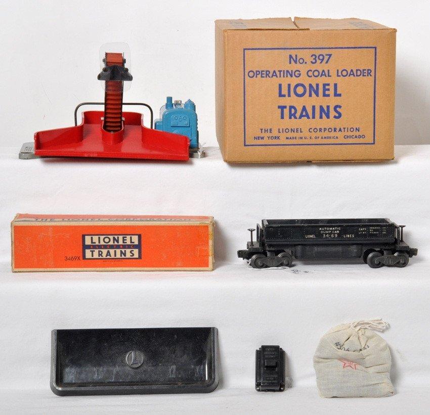 Lionel 397 coal loader in OB w/3469X dump in OB