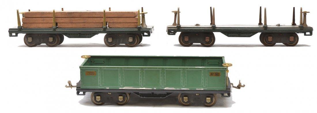 Lionel 2-511 Dk. Gr. Flatcars 512 Peacock Gondola
