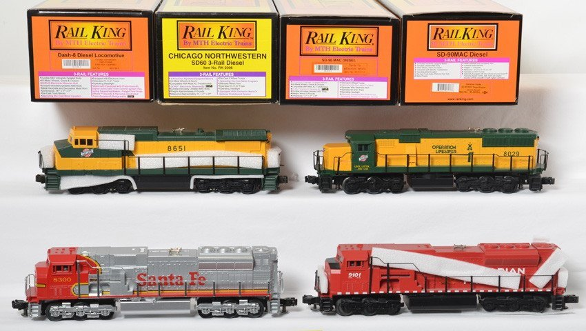 4 Railking diesel locos C&NW, ATSF, CP, with Locosound