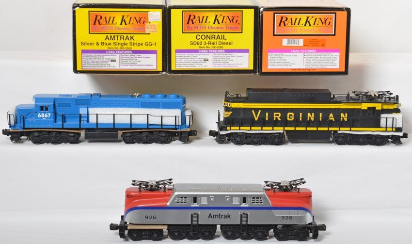 3 Railking locos Virginian, Amtrak, Conrail