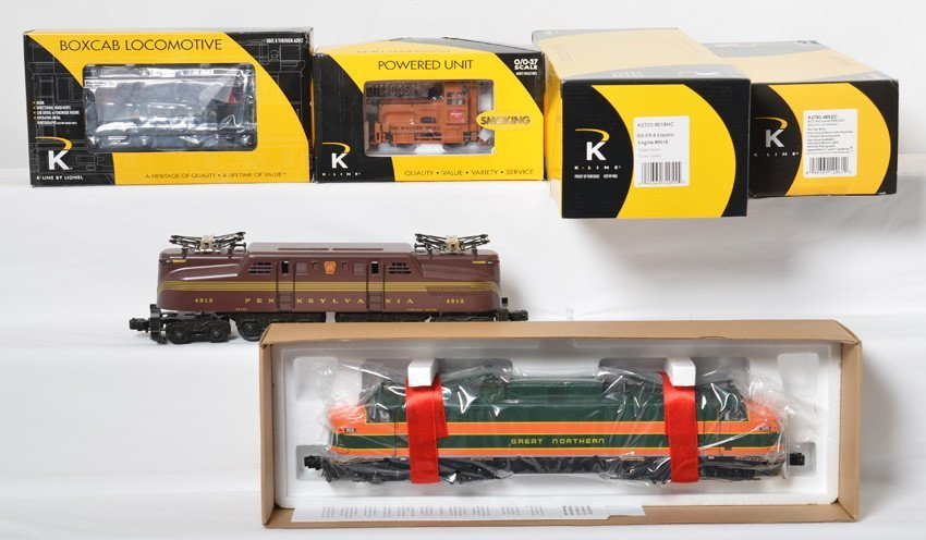4 K Line locos boxcab, EP-5, GG-1, and Plymouth