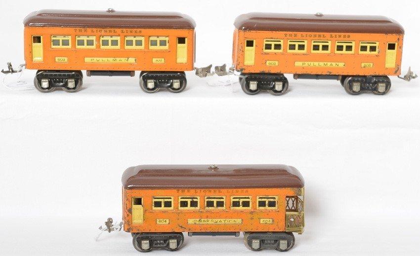 Lionel 603 Pullman, 603 Pullman, and 604 observ.