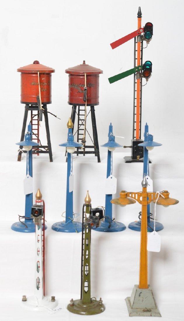 American Flyer wide gauge lamps, semaphores, water...