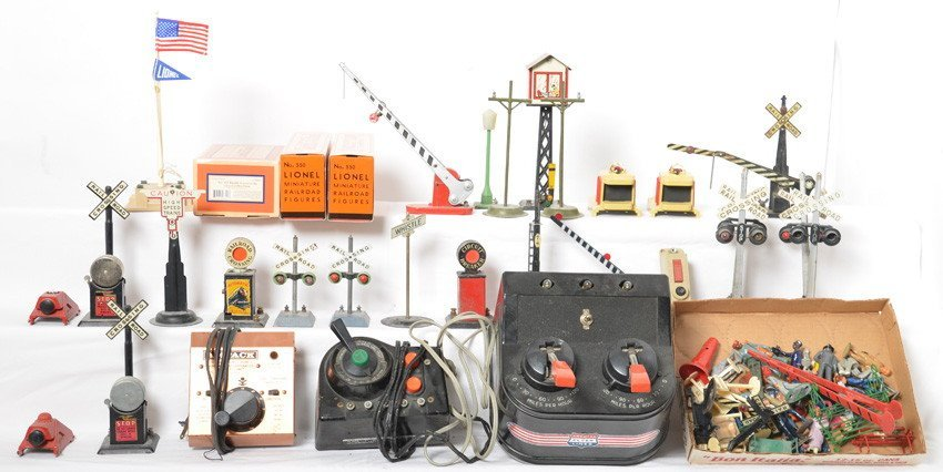 Group of Lionel and Flyer accessories and transformers