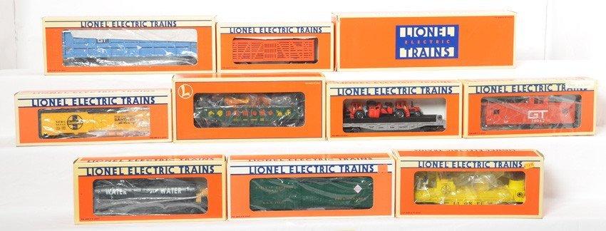 10 Lionel freight cars 17311, 19476, 16654, 16660, etc
