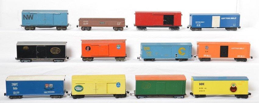 Twelve nice homemade O gauge boxcars & gondola