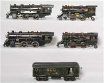 4 American Flyer Prewar steam locos and passenger car