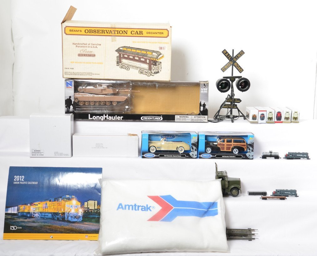 Toy trains, diecast cars, BeamÍs decanter, Amtrak