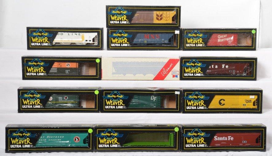 13 Weaver freight cars SF, Soo, BN. GN, GM&O, etc