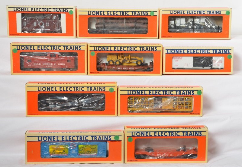 10 Lionel cars Pennsylvania, Rhino, TTOS, Nickel Plate