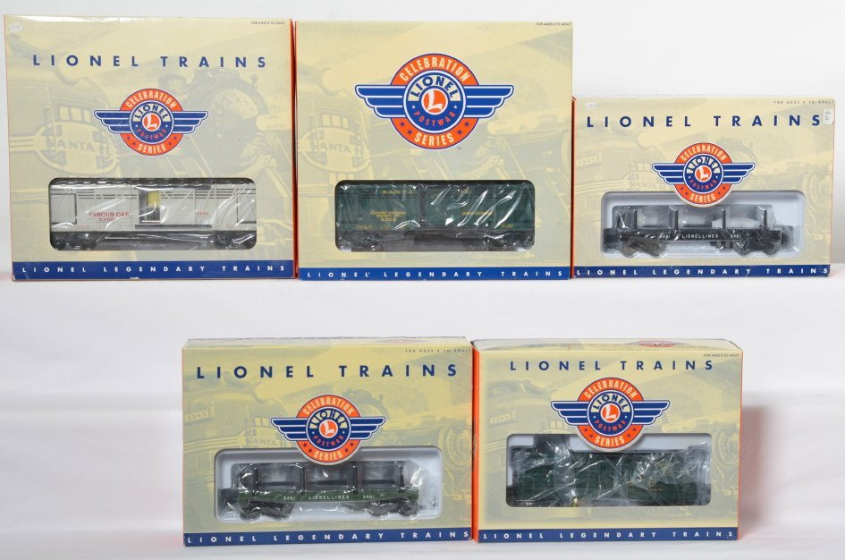5 Lionel Postwar Celebration Series operating cars