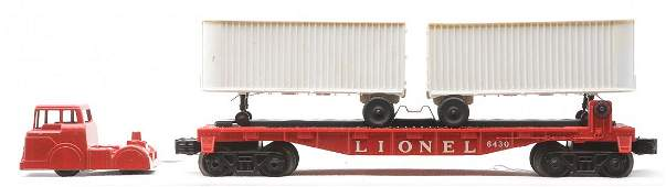Lionel 6361 PiggyBack Set Flat Trailers Tractor