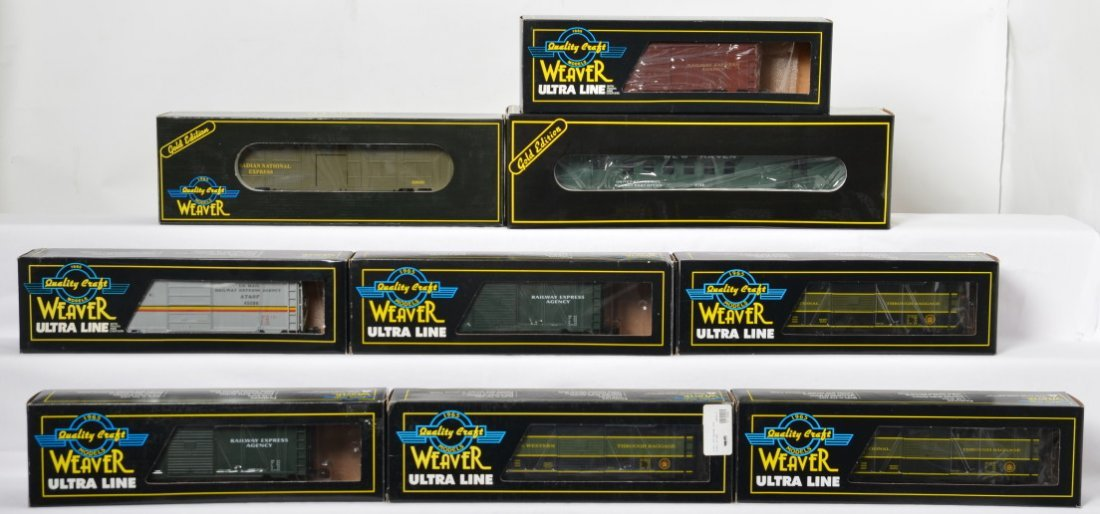 9 Weaver express boxcars, RPO, and troop cars