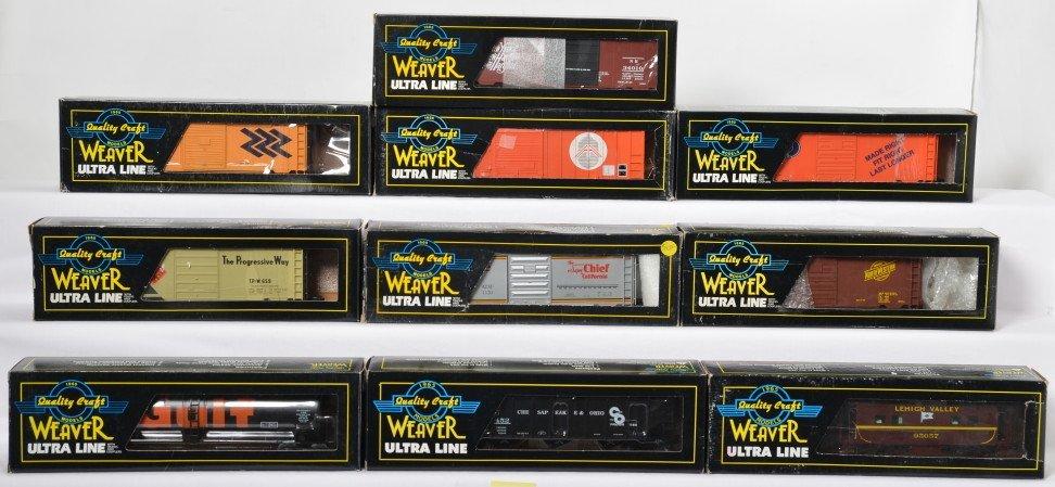 10 Weaver freight cars TP&W, Santa Fe, C&NW, etc