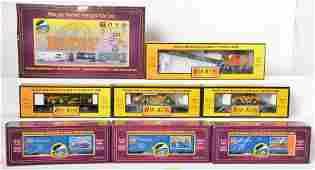 10 MTH  Railking freight cars BNSF CAT USPS