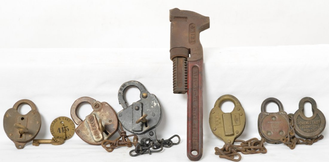 Neat group of railroad locks and tools Schenectady loco