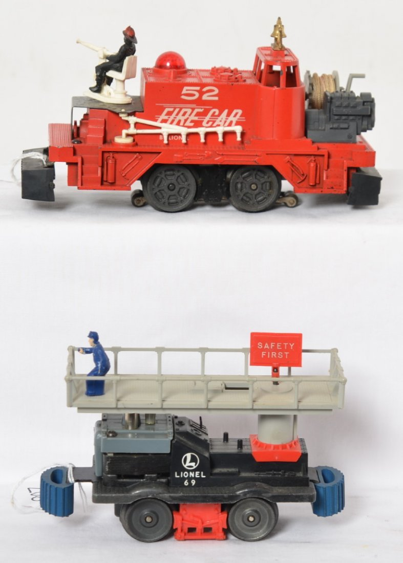 Lionel 52 Fire Car and 69 Maintenance motorized units