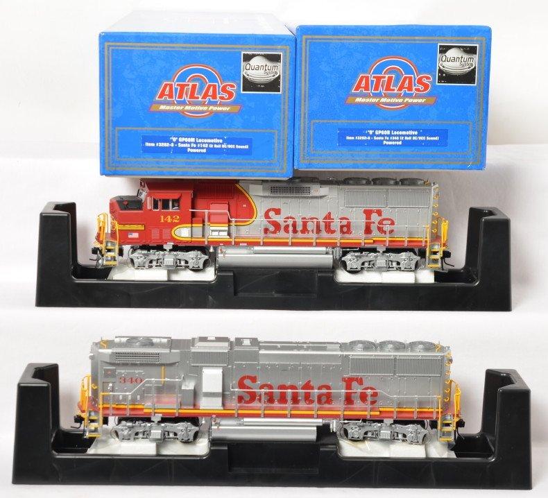 Atlas O 2 rail Santa Fe GP60M and GP60B with QSI