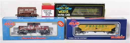 4 O scale freight cars Atlas O, Weaver, etc