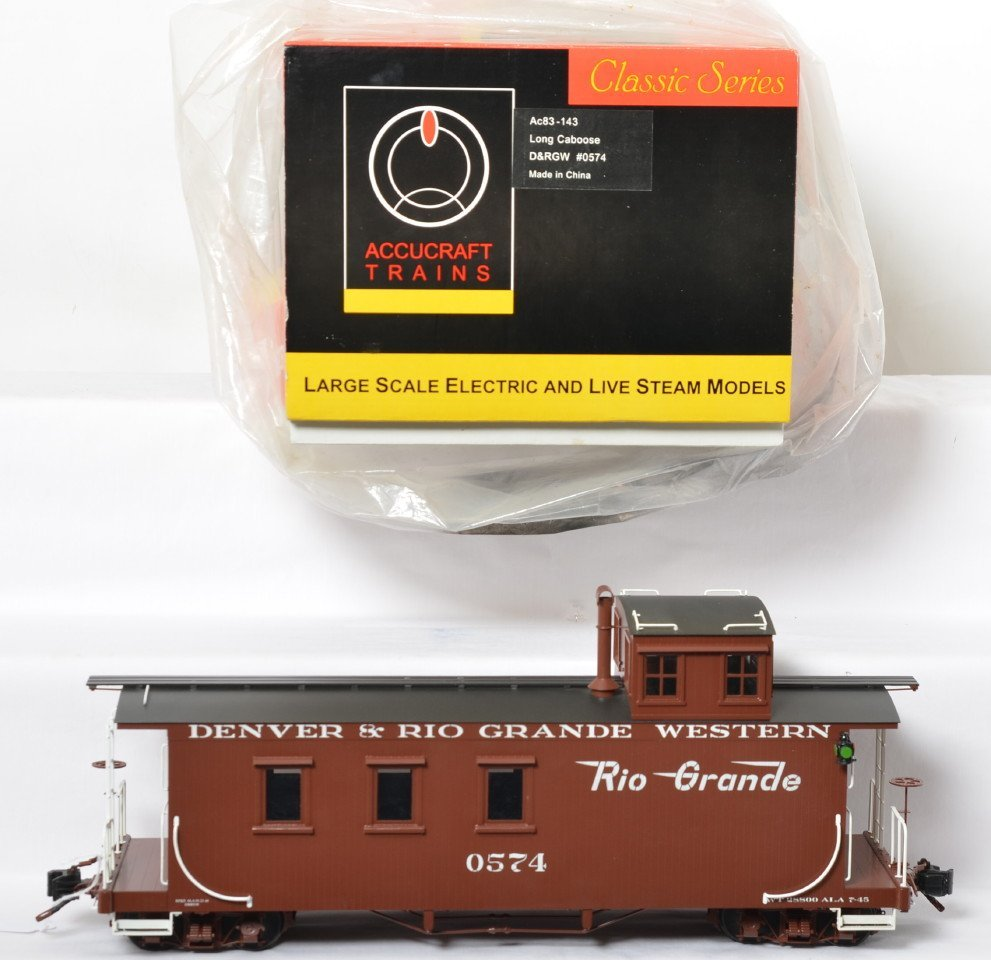 Accucraft Trains AC83-143 D&RGW caboose in OB, BRASS
