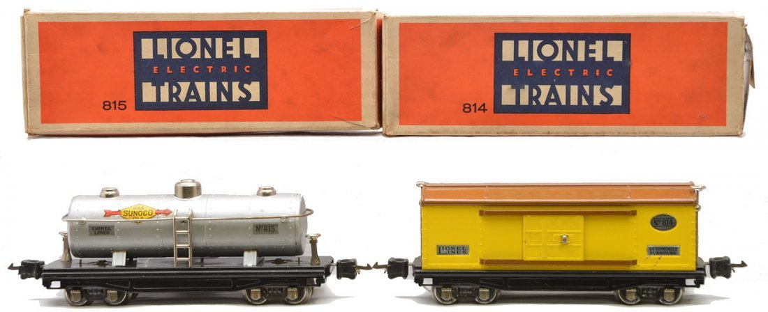 Lionel 814 Yellow Boxcar 815 Tank w/Nickel Trim