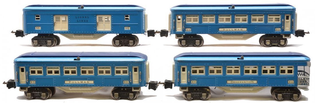 Lionel 2-Tone Blue Pass Cars 615 613 613 614