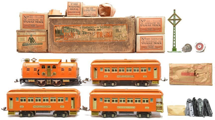 Lionel Orange Set no. 267 4 Bild-A-Loco 2-605 606