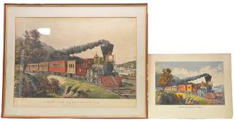 Currier  Ives Litho Print American Express Train