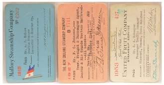 Vintage Ship Employee Passes 1915 1927 1953