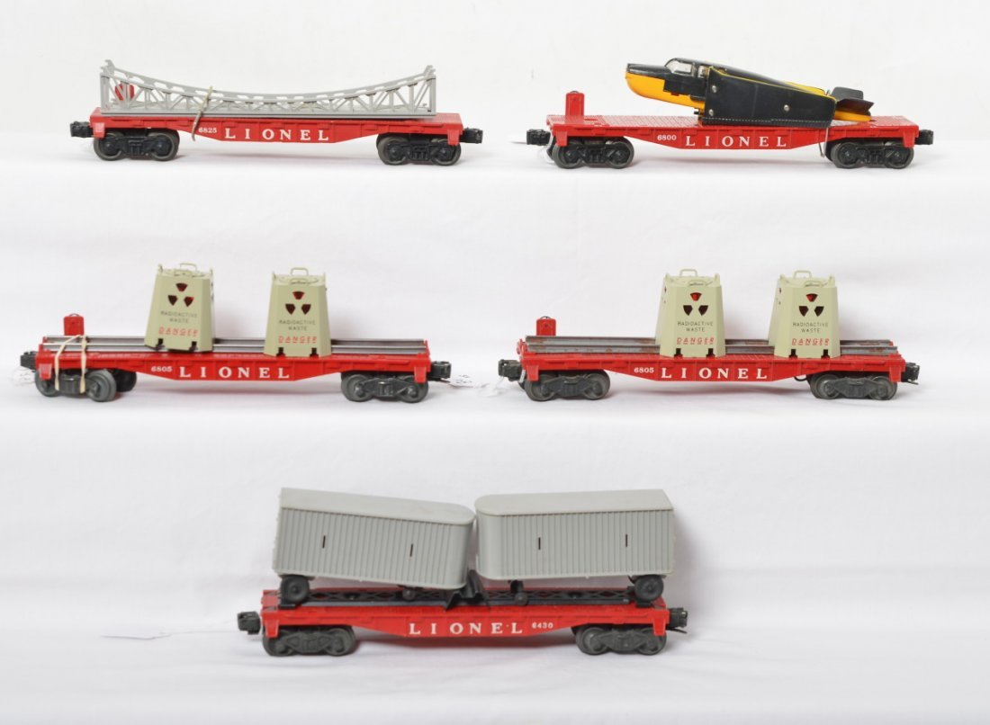 Lionel 6800, 6825, 6805, 6805, 6430 flatcars w/loads