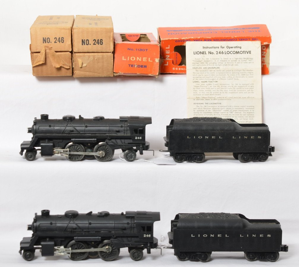Two Lionel 246 steam locos and 1130T tenders in OB