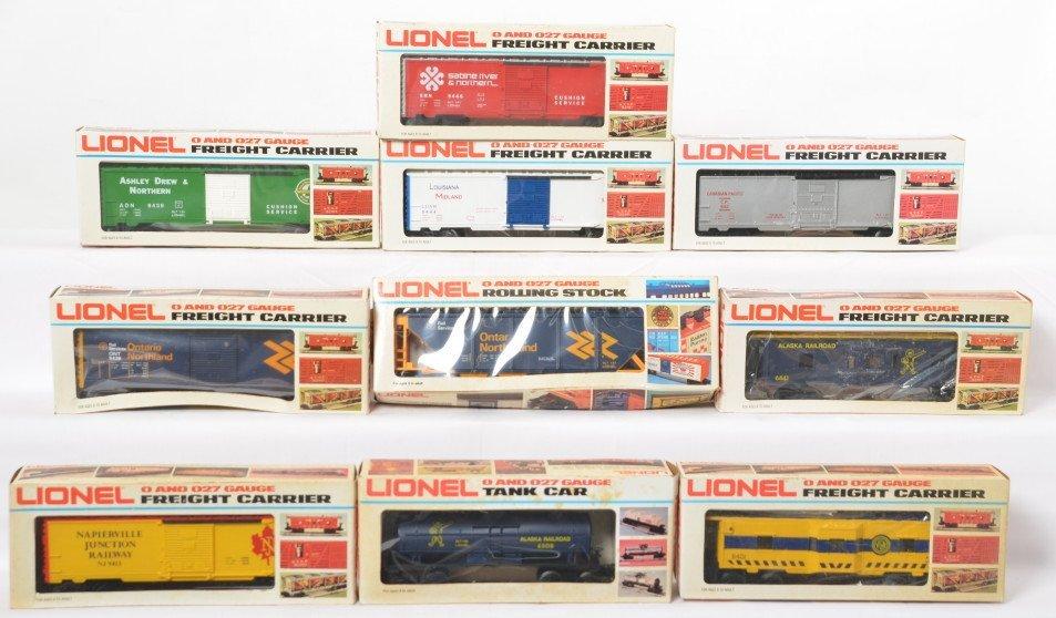 10 Lionel freight cars 6308, 6441, 9444, 9438, etc