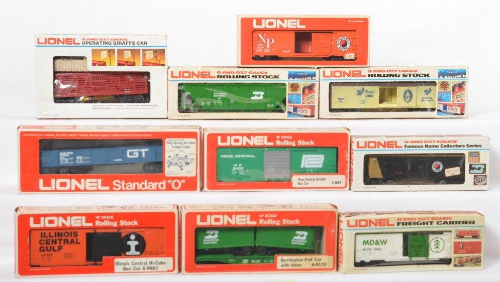 10 Lionel freight cars 5705, 9416, 9770, 9268, etc