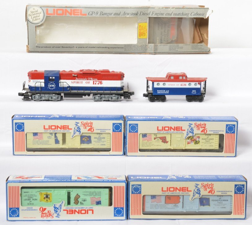Lionel Spirit of 76 cars and B&A loco and caboose