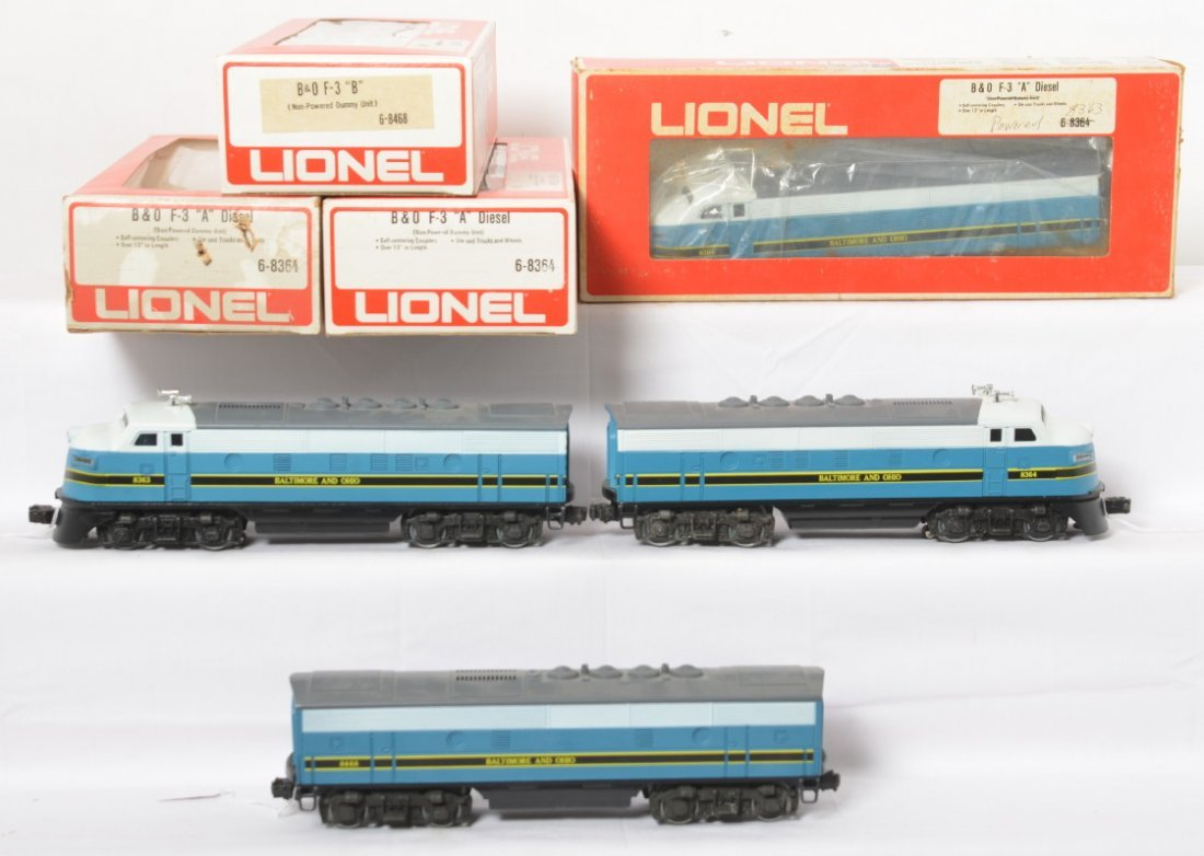 Lionel 8363, 8384, 8468 B&O F3 A-B-A  and extra shell
