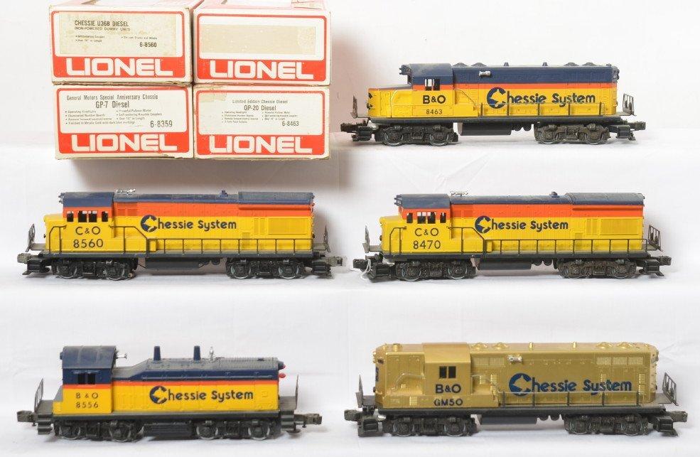 5 Lionel Chessie System locos 8359- 8470, 8556, etc