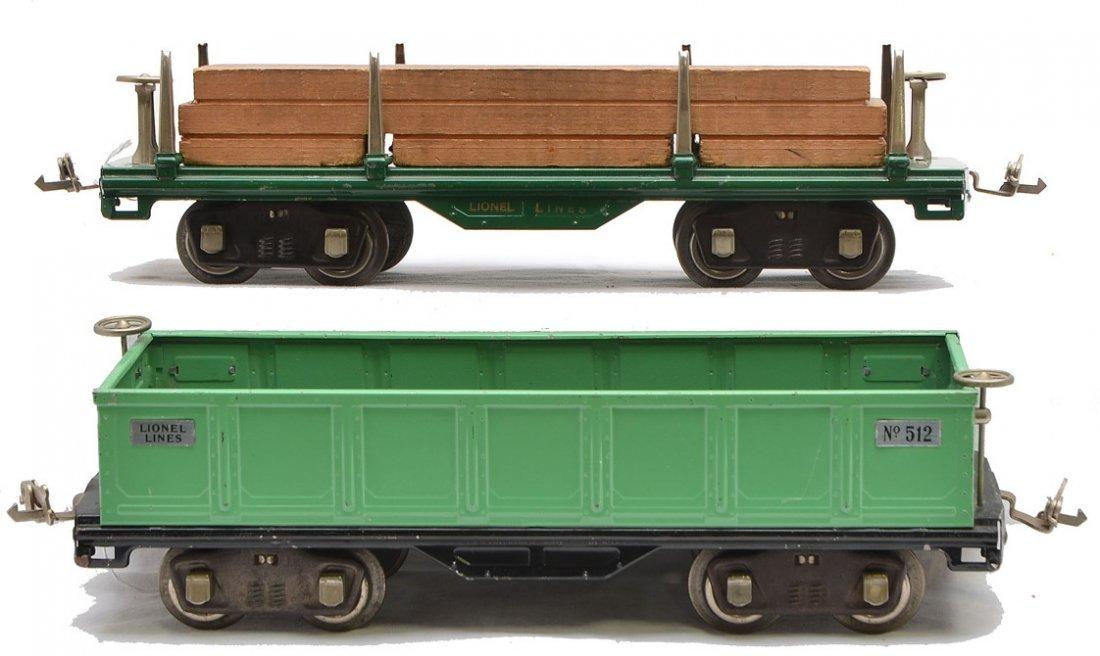 Lionel 511 Dk. Gr. Flatcar 512 Green Gondola