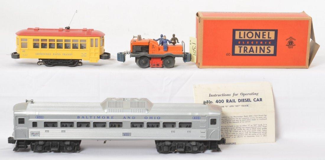 Lionel 400 B&O RDC, 60 trolley, and 50 gang car