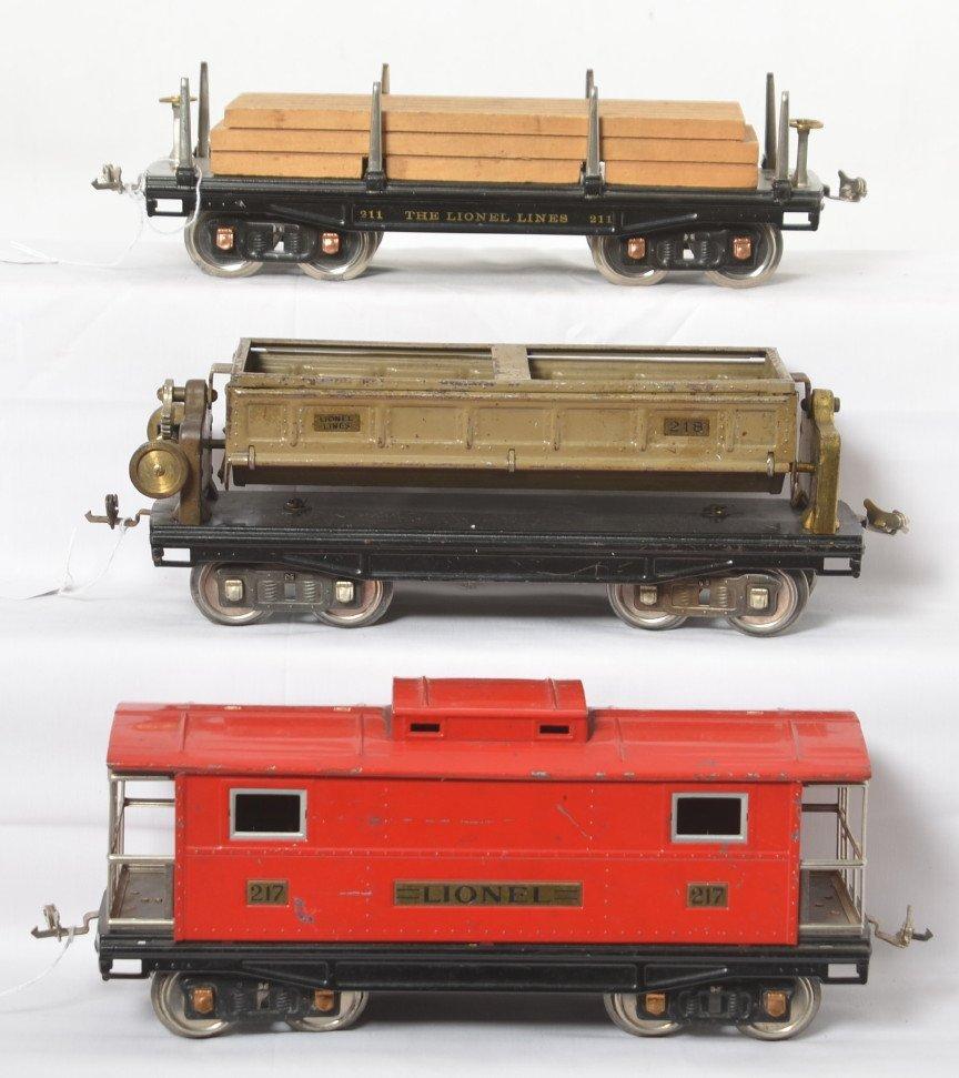 Lionel standard gauge 211, 217, 218 freight cars