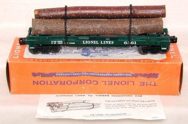 606: Lionel 6361 log car, mint, OB