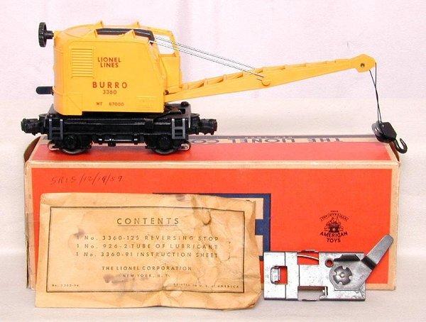 607: Lionel 3360 Burro Crane, OB