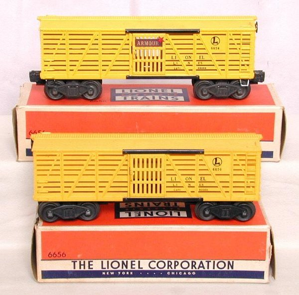 608: Two Lionel 6656 stock cars, OB's
