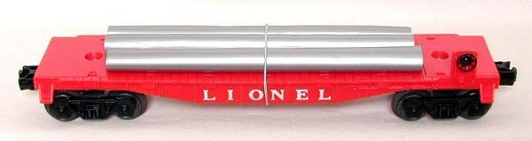 623: Lionel red 6409-25 flat w/ pipes, mint